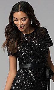 Image of short-sleeve sequin knee-length party dress. Style: MO-3531 Detail Image 1