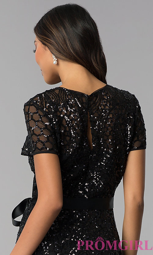 Image of short-sleeve sequin knee-length party dress. Style: MO-3531 Detail Image 2