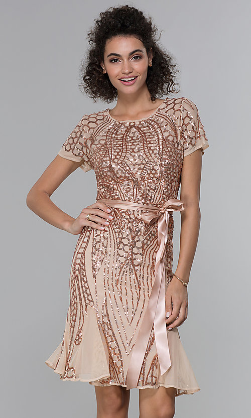 Image of short-sleeve sequin knee-length party dress. Style: MO-3531 Detail Image 3