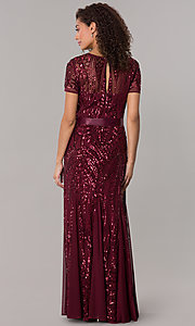 Image of long sequin-mesh MOB short-sleeve dress. Style: MO-1875 Detail Image 3
