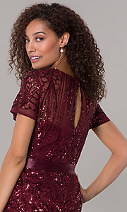 Image of long sequin-mesh MOB short-sleeve dress. Style: MO-1875 Detail Image 6