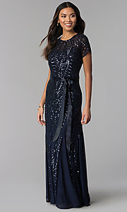 Image of long sequin-mesh MOB short-sleeve dress. Style: MO-1875 Front Image