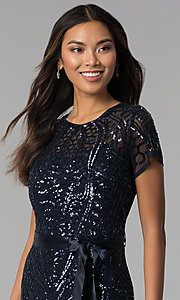 Image of long sequin-mesh MOB short-sleeve dress. Style: MO-1875 Detail Image 1
