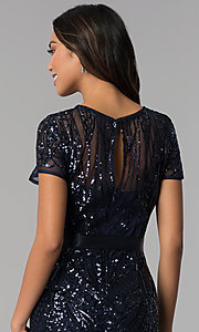 Image of long sequin-mesh MOB short-sleeve dress. Style: MO-1875 Detail Image 2