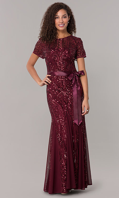 Image of long sequin-mesh MOB short-sleeve dress. Style: MO-1875 Detail Image 4