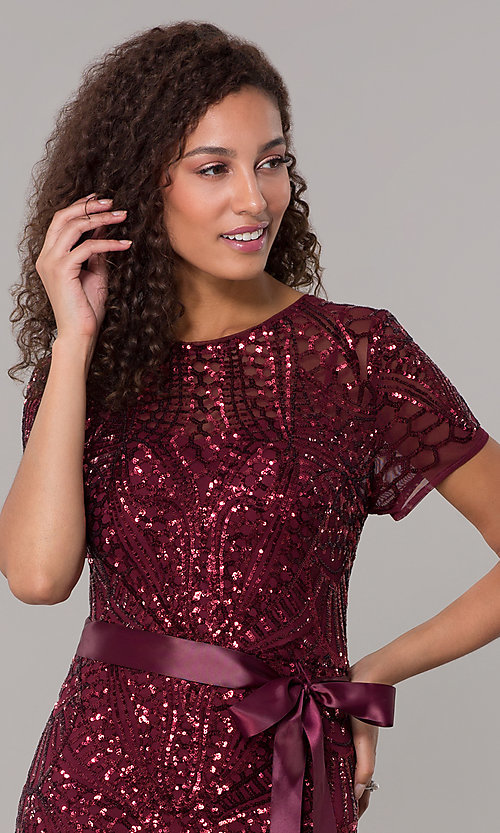 Image of long sequin-mesh MOB short-sleeve dress. Style: MO-1875 Detail Image 5