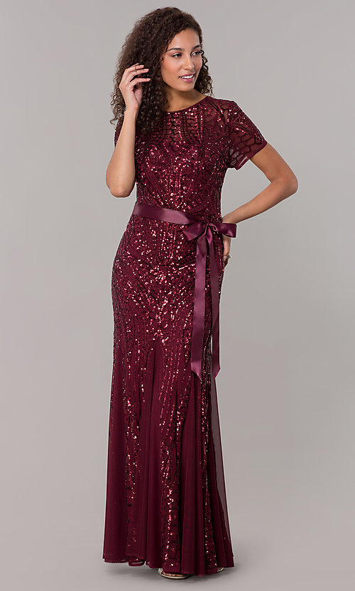 Image of long sequin-mesh MOB short-sleeve dress. Style: MO-1875 Detail Image 7