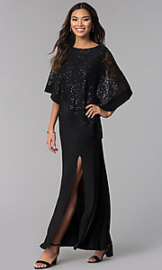 Image of long MOB dress with sequin-lace capelet. Style: MO-8899 Front Image