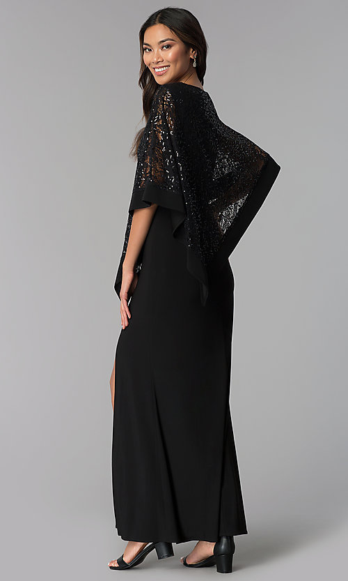 Image of long MOB dress with sequin-lace capelet. Style: MO-8899 Back Image