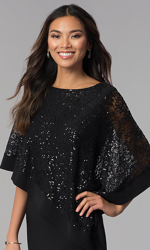 Image of long MOB dress with sequin-lace capelet. Style: MO-8899 Detail Image 1