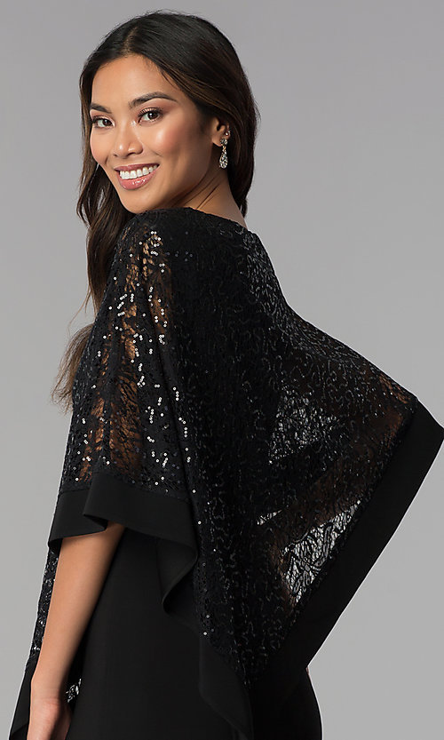 Image of long MOB dress with sequin-lace capelet. Style: MO-8899 Detail Image 2