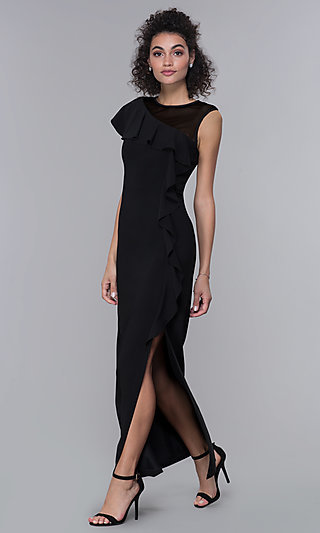 Black Long Side-Slit Mother-of-the-Bride Dress
