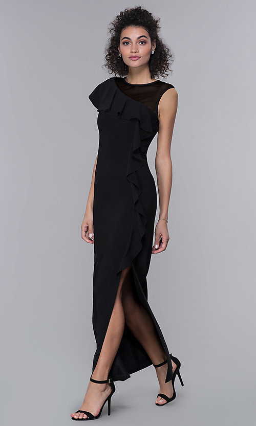 Image of black long side-slit mother-of-the-bride dress. Style: MO-2284 Front Image