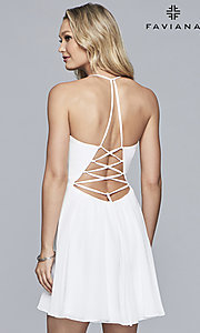 Image of open-back plunging-v-neck Faviana homecoming dress. Style: FA-10150 Back Image