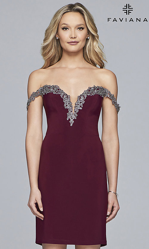 Image of homecoming off-shoulder Faviana dress with beading. Style: FA-S10152 Detail Image 3