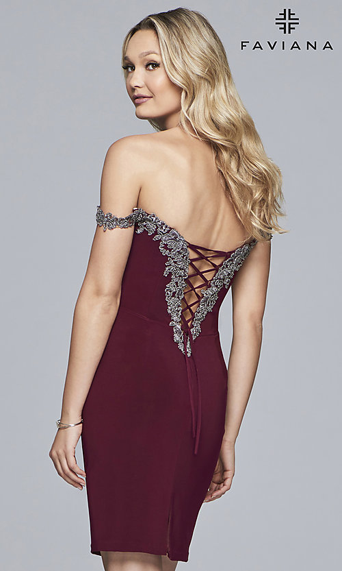 Image of homecoming off-shoulder Faviana dress with beading. Style: FA-S10152 Detail Image 4