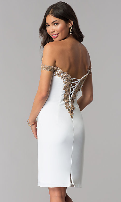 Image of homecoming off-shoulder Faviana dress with beading. Style: FA-S10152 Front Image