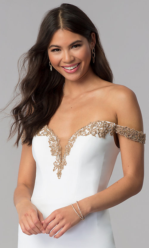 Image of homecoming off-shoulder Faviana dress with beading. Style: FA-S10152 Detail Image 1