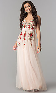 Image of embroidered long blush pink tulle prom dress. Style: LP-24865b Front Image