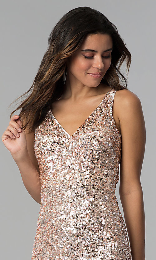 Image of short sequin cocktail party dress by PromGirl. Style: PV-PL-111 Detail Image 6
