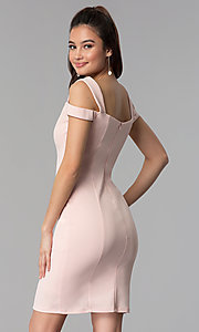Image of cold-shoulder sweetheart short party dress. Style: MB-7335S Back Image