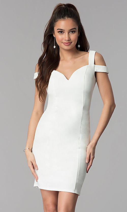 Image of cold-shoulder sweetheart short party dress. Style: MB-7335S Detail Image 2
