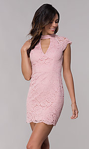 Image of cap-sleeve lace sheath wedding guest dress. Style: LP-27716 Detail Image 4