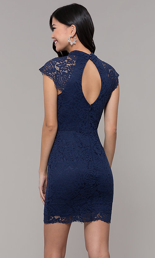 Image of cap-sleeve lace sheath wedding guest dress. Style: LP-27716 Back Image