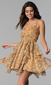 Image of short open-back floral-print party dress. Style: STO-SD1541 Detail Image 3