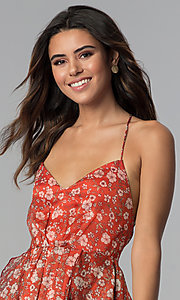 Image of short open-back floral-print party dress. Style: STO-SD1541 Detail Image 1
