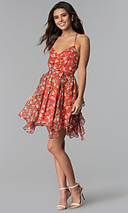 Image of short open-back floral-print party dress. Style: STO-SD1541 Detail Image 2