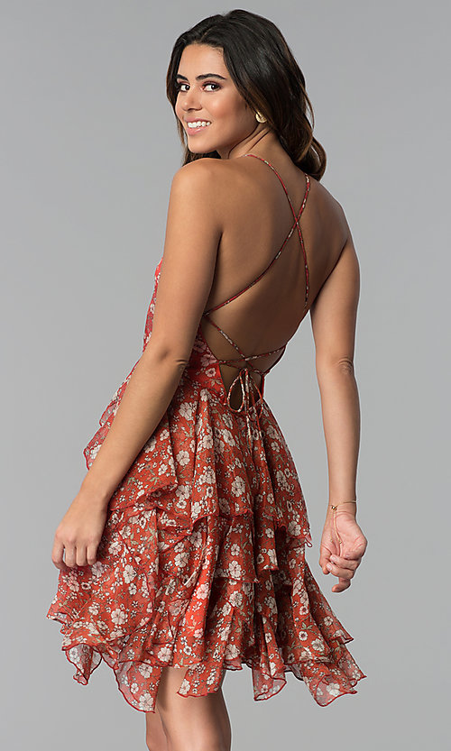 Image of short open-back floral-print party dress. Style: STO-SD1541 Back Image