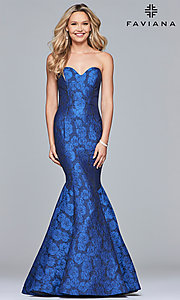 Image of long strapless sweetheart Faviana prom dress. Style: FA-S10118 Detail Image 1
