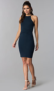 Image Of Short Wedding Guest Navy Blue Dress Style Sop D16601mf Detail