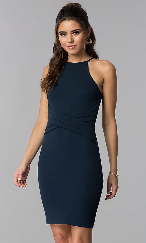 6a82195e025 Image of short wedding guest navy blue dress. Style  SOP-D16601MF Front  Image