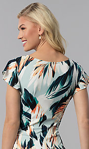 Image of short floral-print wedding-guest faux-wrap dress. Style: ECI-720278-75739A Detail Image 2