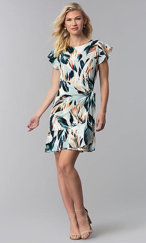 Image of short floral-print wedding-guest faux-wrap dress. Style: ECI-720278-75739A Detail Image 3