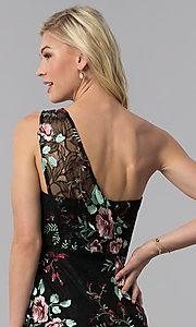 Image of black embroidered one-shoulder party dress. Style: ECI-519387-7731 Detail Image 2