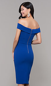 Image of off-shoulder knee-length wedding guest dress. Style: ECI-719901-7197 Back Image
