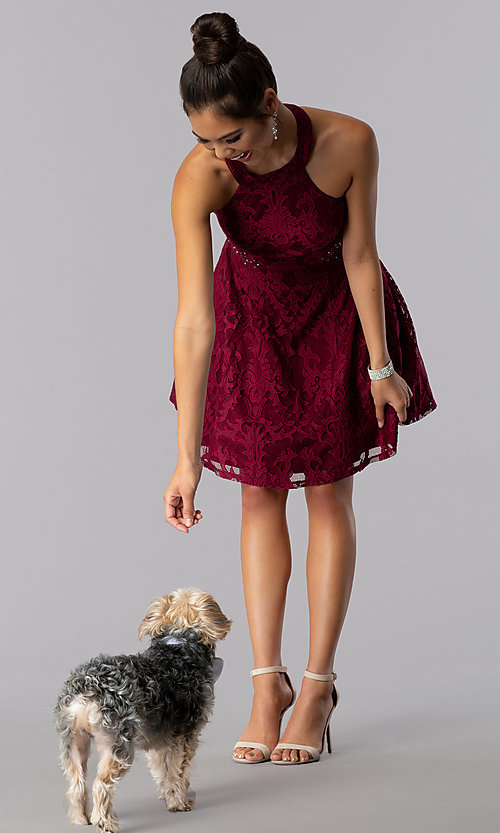 Image of lace a-line short burgundy homecoming party dress. Style: CT-3579PY1BT3 Front Image