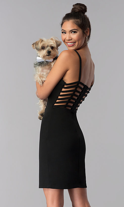 Image of caged-open-back short black homecoming party dress. Style: CT-7711QC7AT3 Front Image