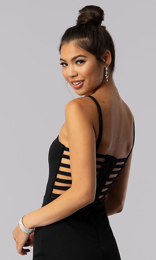 Image of caged-open-back short black homecoming party dress. Style: CT-7711QC7AT3 Detail Image 1