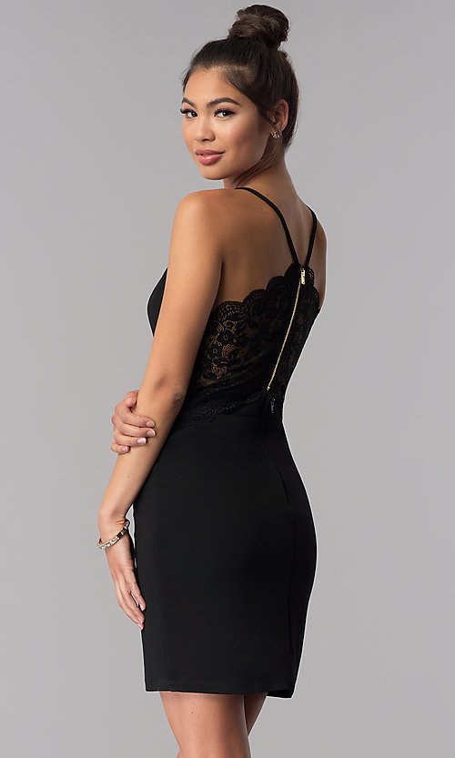 Image of short black lace-racerback homecoming dress. Style: CT-7711XW7BT3 Back Image