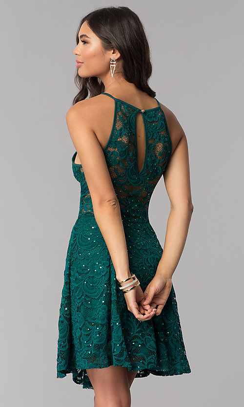 Image of short lace homecoming a-line dress. Style: EM-DPS-3822-304 Back Image