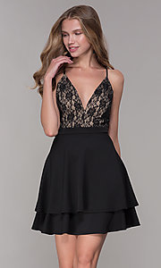 Image of tiered-skirt lace-bodice homecoming party dress. Style: EM-HAT-1000-018 Front Image