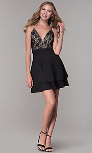Image of tiered-skirt lace-bodice homecoming party dress. Style: EM-HAT-1000-018 Detail Image 3