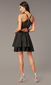 Image of tiered-skirt lace-bodice homecoming party dress. Style: EM-HAT-1000-018 Detail Image 2