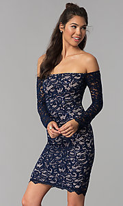 Image of long-sleeve off-the-shoulder short homecoming dress. Style: MY-4647XX1C Front Image