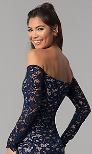 Image of long-sleeve off-the-shoulder short homecoming dress. Style: MY-4647XX1C Detail Image 2
