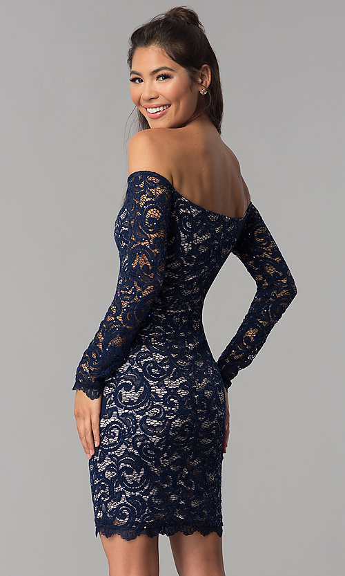 Image of long-sleeve off-the-shoulder short homecoming dress. Style: MY-4647XX1C Back Image